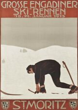 Vintage Ski Posters ST. MORITZ GROSSE ENGADINER, Swiss, 1913, Travel Print