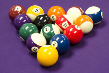 """SPOTS and STRIPES 2"""" Size ENGLISH POOL TABLES BALLS SET With 1-7/8"""" WHITE BALL"""