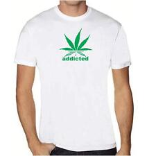 "NEW MEN'S PRINTED ""addicted"" Marijuana TEE Shirt Plant Funny MMA Dope Weed SMOKE"