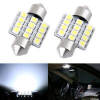 2pcs Ultra White LED Bulbs 31mm Festoon 12-SMD Dome Super Bright Interior Light