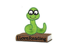 Bookworm - Love - Reading - School - Book - Embroidered Iron On Applique Patch