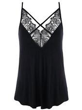 Plus Size XL-5XL Women Vest Tops Blouse T Shirt Lace Trim Criss Cross Tank Top