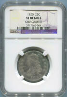 1820 Draped Bust Quarter, NGC VF Details