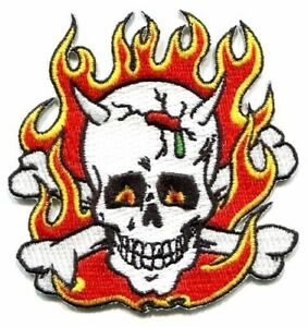 Flaming Skull PATCH Iron-On Embroidered Frank Kozik Design