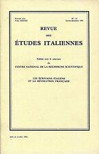 REVUE DES ÉTUDES ITALIENNES    LES ÉCRIVAINS ITALIENS ET LA RÉVOLUTION FRANÇAISE