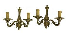 Pair Vintage French Louis XVI Style Bronze 2-Arm Sconces