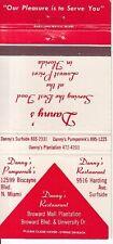 Danny's Restaurant Broward Mall North Miami Surfside Florida Vintage Matchcover