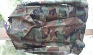U.S. Military Issue Woodland Camo Field Coat, Medium Short, VG