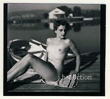 Stoccarda nudo il Max-Eyth-see Nude Girl Boating * 60s Seufert contact Print #8