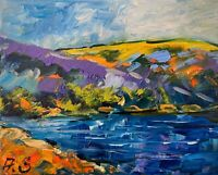 River Modern Hills Mountains Oil Painting Impressionism LANDSCAPE Collectable