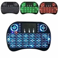 2.4G Mini Wireless Keyboard Mouse LED Backlit Touchpad For Smart TV Box PC Black
