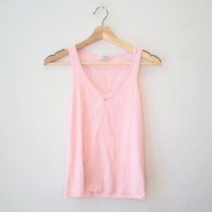 L - Brunello Cucinelli Pink Ribbed Silver Beaded Stretch Fit Tank Top 1217RM