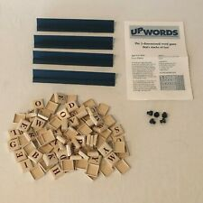 UpWords Board Game Replacement Parts Pieces 100 Plastic Letter Tiles Rack Holder