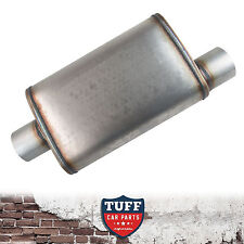 "2.5"" Megapower Straight Through Stainless Steel Muffler Offset Centre Oval 14"""