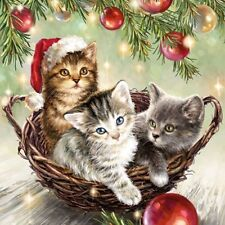 4 x Single Paper Napkins/3 Ply/Decoupage/Craft/Christmas/Cats in the Basket
