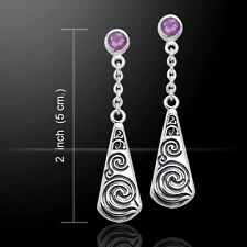 Celtic Maori .925 Sterling Silver Genuine Amethyst Earrings by Peter Stone