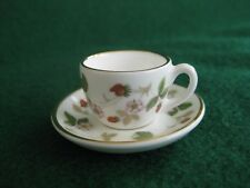 Miniature Wedgwood England Cup & Saucer  Wild Strawberry Bone China Dollhouse NR