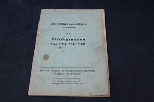 Old Print Manual Strohpressen Type T318 T341 T351 Strohpresse
