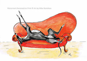 Greyhound Whippet Lurcher art print gifts painting poster - Mounting Options