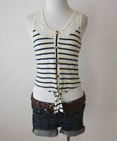 CHARLOTTE RUSSE Striped Lace Knit Buttons Tie Front Crop Top Tank Shirt Blouse S