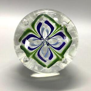 Nice Floral Design Art Glass Paperweight Blue Green
