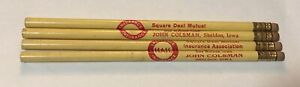 Vintage Sheldon Iowa John Colsman Square Deal Mutual Insurance Pencils