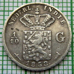 NETHERLANDS EAST INDIES - INDONESIA 1858 1/10 GULDEN - 10 CENTS, SILVER