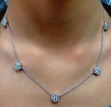 4.40CT NATURAL DIAMONDS CLUSTER BY YARD NECKLACE G/VS 14KT+