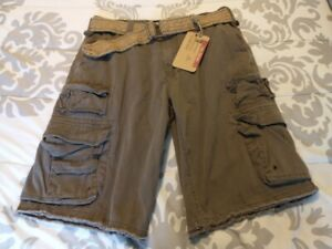 PLUGG JEANS CO Size 34 Cargo Shorts/ Boys/ Dark Brown/ NEW w/ Tags and Belt