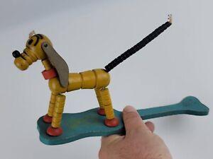 Antique Fisher Price Pluto Pop-Up Walt Disney String Toy, Kritter, Wood VGC