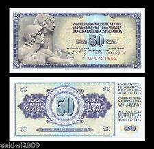 YUGOSLAVIA 50 DINARA 1968 p-83c con filettatura sicurezza MINT UNC banconote