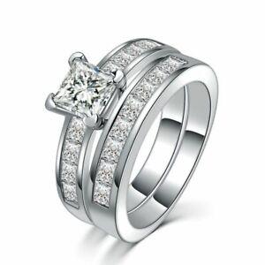 Stunning Princess Cut CZ Stainless Steel Wedding Ring Band Set Women's Size 6-10