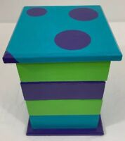 Tiered Wood Jewelry Box Disney Monster Inspired Polka Dot Vintage Upcycled