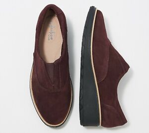 Clarks Collection Suede Slip-On Shoes - Sharon Sail US 7.5 Burgundy New