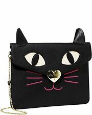 """NWT Betsey Johnson Black """"Kitchi Cat Clutch"""" Crossbody COLLECTABLE!!"""