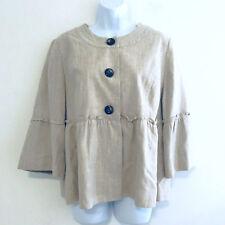 Dress Barn Womens Jacket sz L Ivory Gold Metallic Peplum 3/4 Length Sleeve Q16