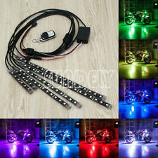 6pcs RGB Car Auto Motorcycle ATV Flexible LED Strip Light Lamps NEON Remote Kit