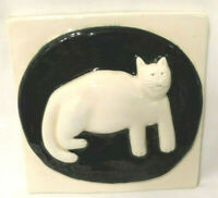 Vintage Ceramic Pottery Handcrafted Art Tile Cat Kitty Wall Hanging K Goldstrom