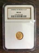 MEXICO 1898 MO M GOLD ONE PESO NGC MS 64