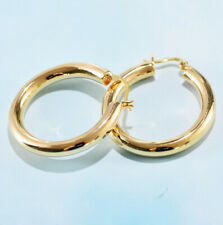 I01 Earring Creole Smooth 25 MM Gold Plated Sterling Silver 925