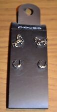 BRAND NEW * TWO SETS OF GOLD TONE GALLOPING HORSE PONY & SHOE STUD EARRINGS *