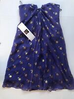 Nicole Miller Womens Silk Strapless Cocktail Formal Dress Sz 0 Purple NWT