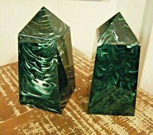"""6.5"""" Pair Vintage Modern Regency Marbled Green Lucite Obelisk Pillars Book Ends"""