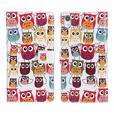 Multi Owl Design For Sony Xperia Z2 Leather Wallet Money Card Case Cover Stand