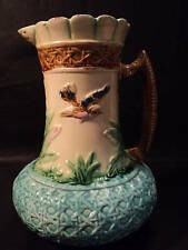 "COLORFUL 19th C. AMERICAN MAJOLICA 8.5"" PITCHER, BIRD & BASKET WEAVE DESIGN"