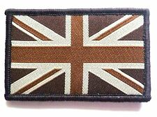 EMBROIDERED BRITISH FLAG PATCH velcro GB retro brown cloth badge Army Soldier