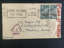 1939 Ceylon Censored Cover to Madras India