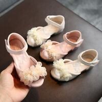 Toddler Infant Kids Baby Girls Pearl Floral Party Princess Leather Shoes Sandals