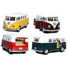 """Set of 4:5"""" Classic 1962 Volkswagen Van 1:32 Green/Maroon/Red/Yellow bus diecast"""