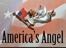 Vintage Angel Patriotic Silver Tone Angel Enameled Flag Lapel Pin Brooch Usa